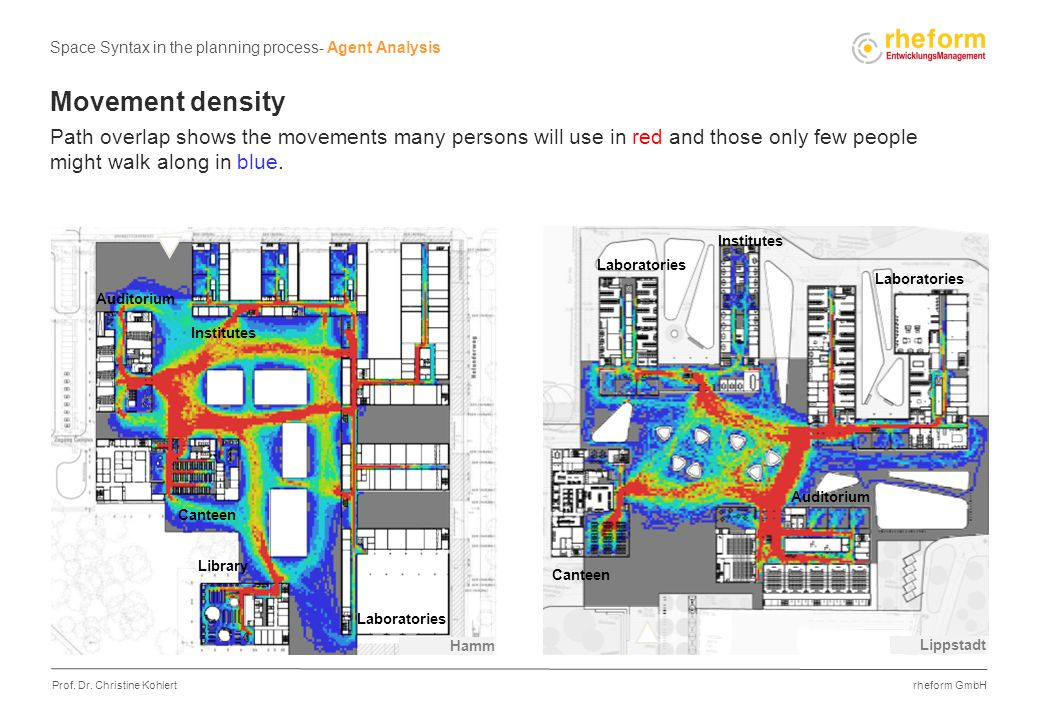 rheform GmbH Prof. Dr. Christine Kohlert Movement density Path overlap shows the movements many persons will use in red and those only few people migh