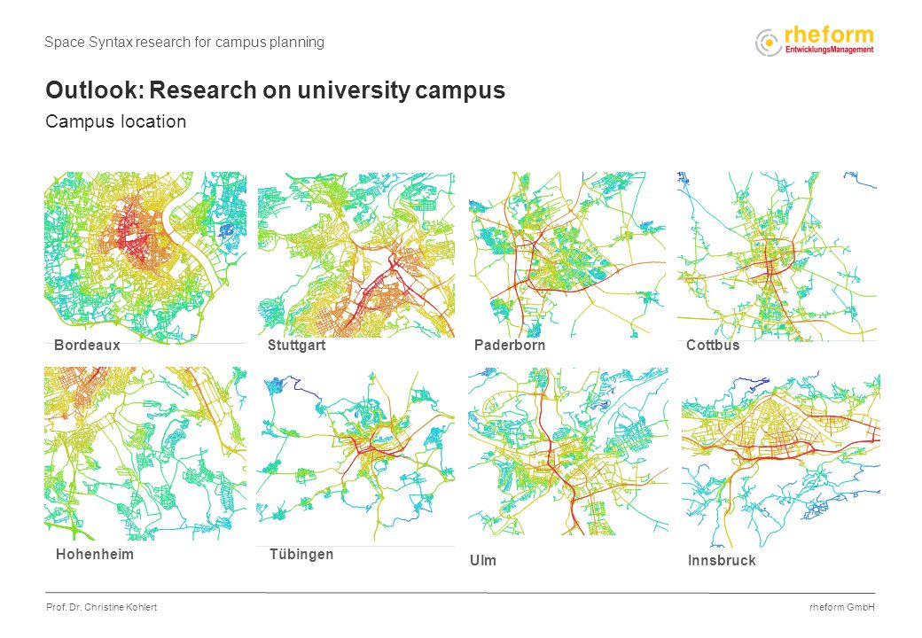 rheform GmbH Prof. Dr. Christine Kohlert Outlook: Research on university campus Campus location Space Syntax research for campus planning Stuttgart In