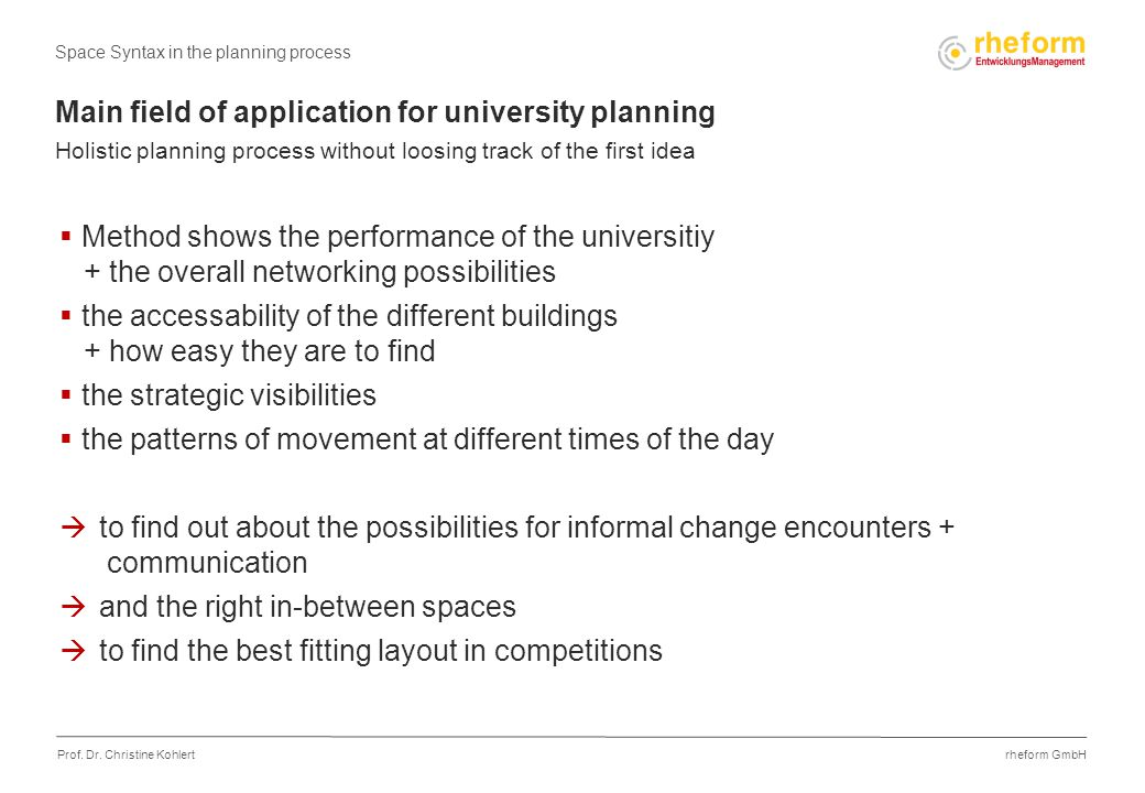 rheform GmbH Prof. Dr. Christine Kohlert Main field of application for university planning Holistic planning process without loosing track of the firs