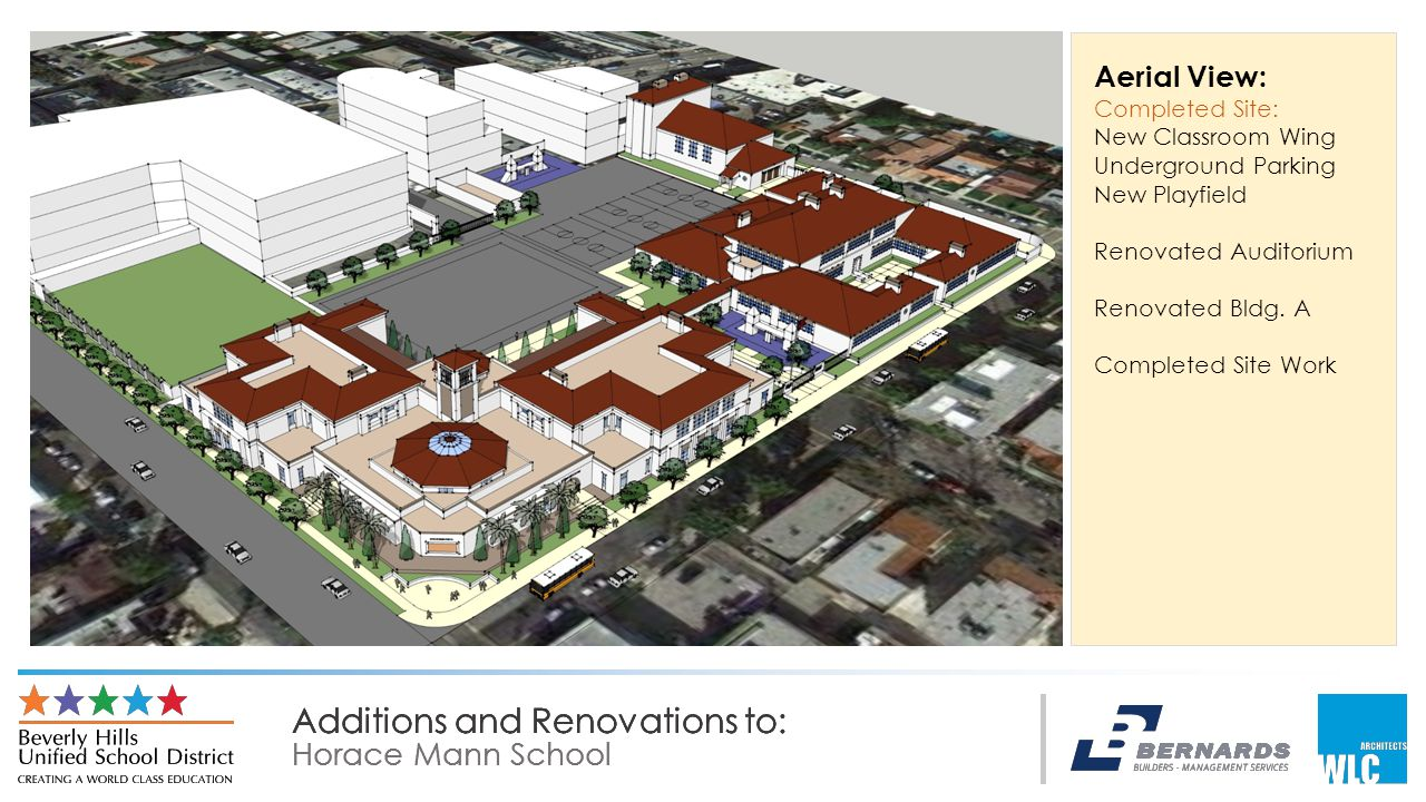 Additions and Renovations to: Horace Mann School Additions and Renovations to: Horace Mann School Additions and Renovations to: Horace Mann School Aerial View: Completed Site: New Classroom Wing Underground Parking New Playfield Renovated Auditorium Renovated Bldg.