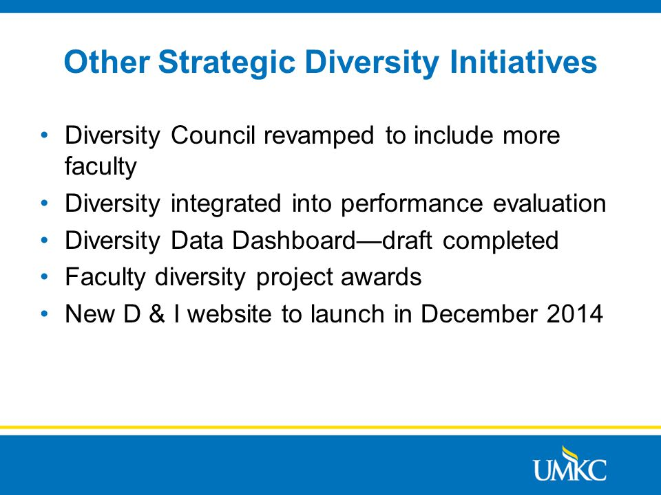 Other Strategic Diversity Initiatives Diversity Council revamped to include more faculty Diversity integrated into performance evaluation Diversity Data Dashboard—draft completed Faculty diversity project awards New D & I website to launch in December 2014