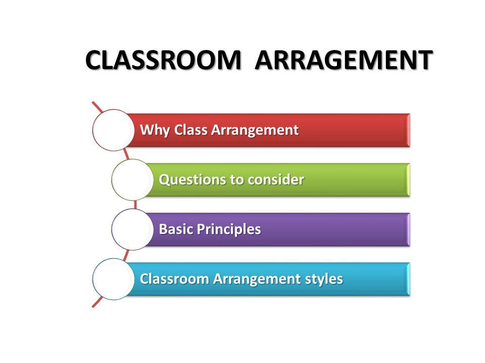 CLASSROOM ARRAGEMENT Why Class Arrangement Questions to consider Basic Principles Classroom Arrangement styles
