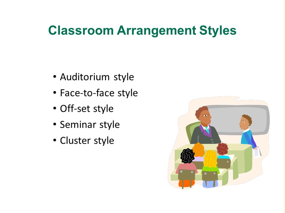Auditorium style Face-to-face style Off-set style Seminar style Cluster style Classroom Arrangement Styles