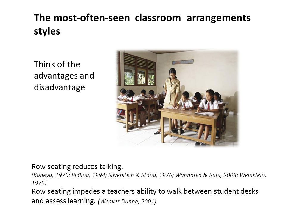 The most-often-seen classroom arrangements styles Think of the advantages and disadvantage Row seating reduces talking. (Koneya, 1976; Ridling, 1994;