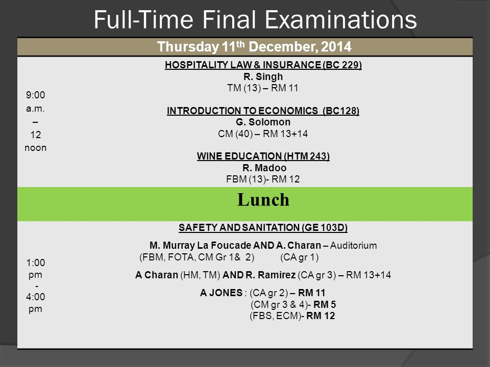 Full-Time Final Examinations Thursday 11 th December, 2014 9:00 a.m. – 12 noon HOSPITALITY LAW & INSURANCE (BC 229) R. Singh TM (13) – RM 11 INTRODUCT