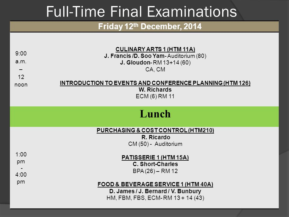 Full-Time Final Examinations Friday 12 th December, 2014 9:00 a.m. – 12 noon CULINARY ARTS 1 (HTM 11A) J. Francis /D. Soo Yam- Auditorium (80) J. Glou