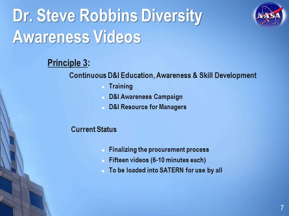 Dr. Steve Robbins Diversity Awareness Videos Principle 3: Continuous D&I Education, Awareness & Skill Development Training D&I Awareness Campaign D&I