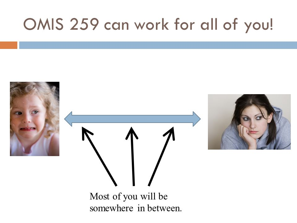 OMIS 259 can work for all of you! Most of you will be somewhere in between.