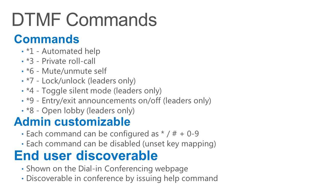 Commands *1 - Automated help *3 - Private roll-call *6 - Mute/unmute self *7 - Lock/unlock (leaders only) *4 - Toggle silent mode (leaders only) *9 -