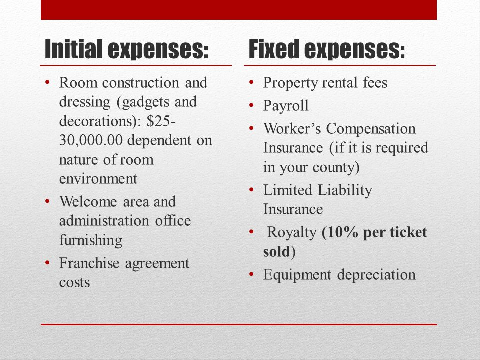Initial expenses: Room construction and dressing (gadgets and decorations): $25- 30,000.00 dependent on nature of room environment Welcome area and ad