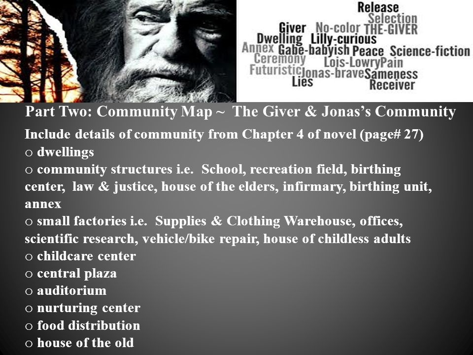 Part Two: Community Map ~ The Giver & Jonas's Community Include details of community from Chapter 4 of novel (page# 27) o dwellings o community struct