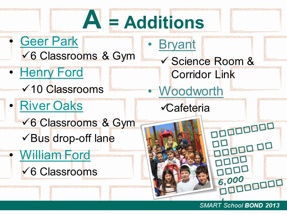 SMART School BOND 2013 A = Additions Geer Park 6 Classrooms & Gym Henry Ford 10 Classrooms River Oaks 6 Classrooms & Gym Bus drop-off lane William Ford 6 Classrooms Bryant Science Room & Corridor Link Woodworth Cafeteria Enrollme nt gains of more than 6,000 students !