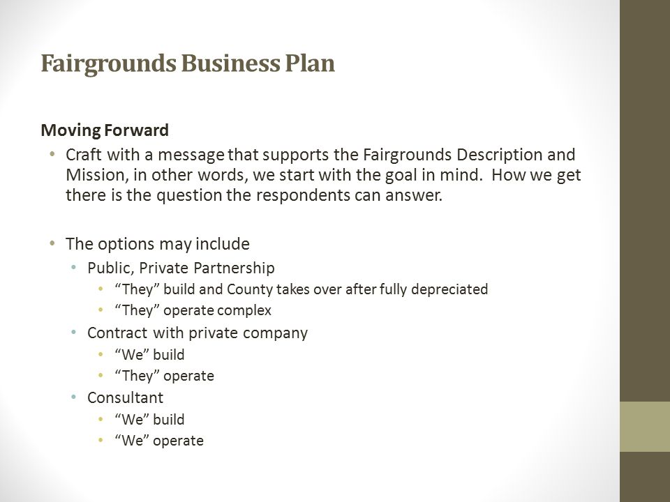 Fairgrounds Business Plan Moving Forward Craft with a message that supports the Fairgrounds Description and Mission, in other words, we start with the goal in mind.