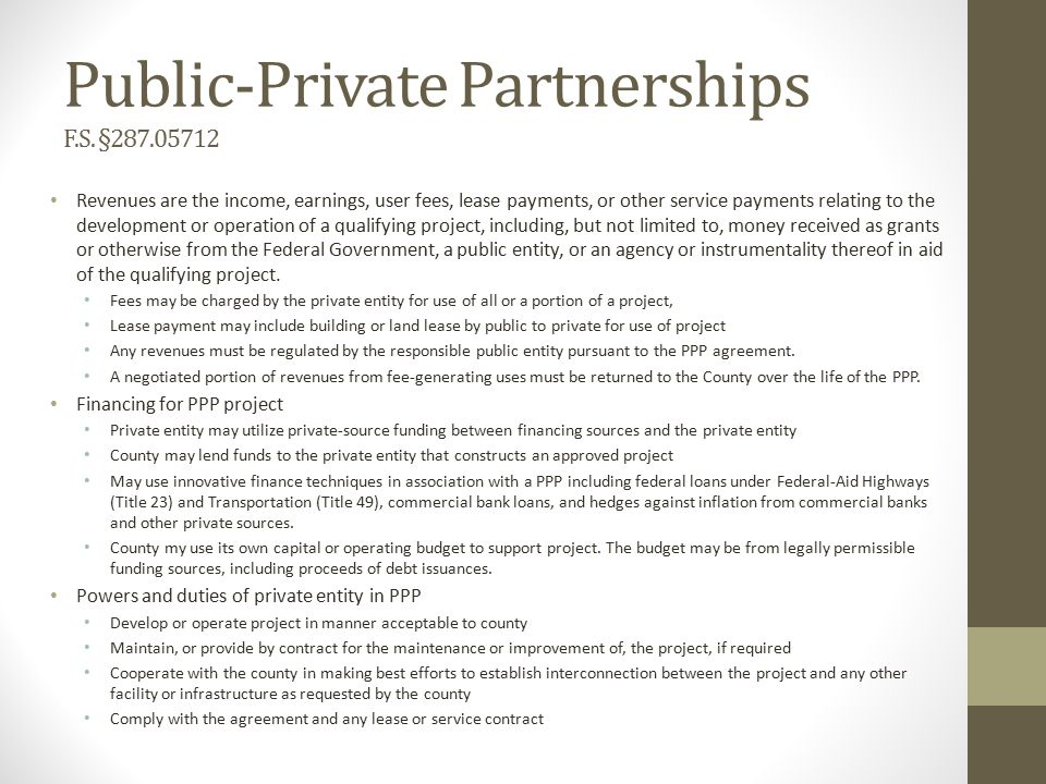 Public-Private Partnerships F.S.