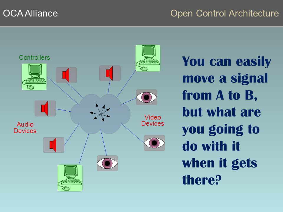 OCA AllianceOpen Control Architecture You can easily move a signal from A to B, but what are you going to do with it when it gets there