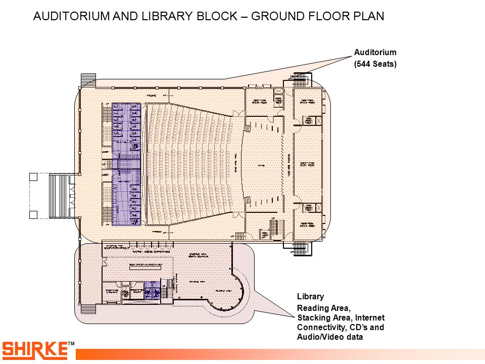 TM AUDITORIUM AND LIBRARY BLOCK – GROUND FLOOR PLAN Auditorium (544 Seats) Library Reading Area, Stacking Area, Internet Connectivity, CD's and Audio/