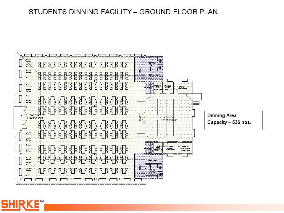 TM Dinning Area Capacity – 536 nos. STUDENTS DINNING FACILITY – GROUND FLOOR PLAN