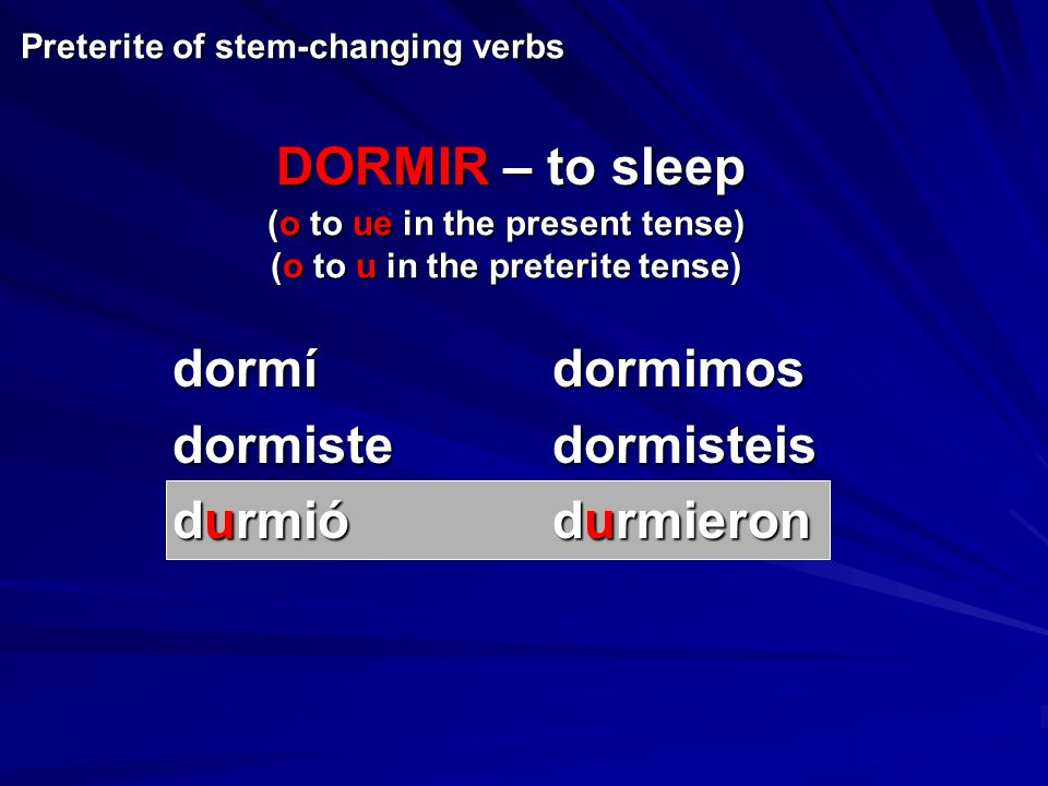 dormídormimos dormistedormisteis durmiódurmieron Preterite of stem-changing verbs (o to ue in the present tense) (o to u in the preterite tense) DORMI