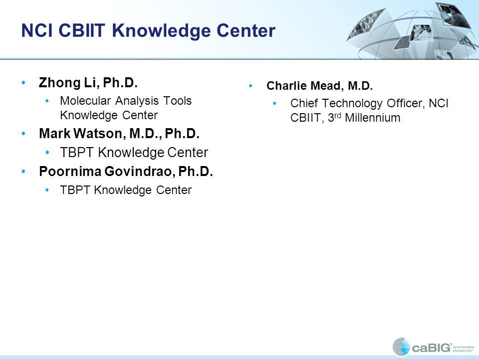 NCI CBIIT Knowledge Center Zhong Li, Ph.D. Molecular Analysis Tools Knowledge Center Mark Watson, M.D., Ph.D. TBPT Knowledge Center Poornima Govindrao