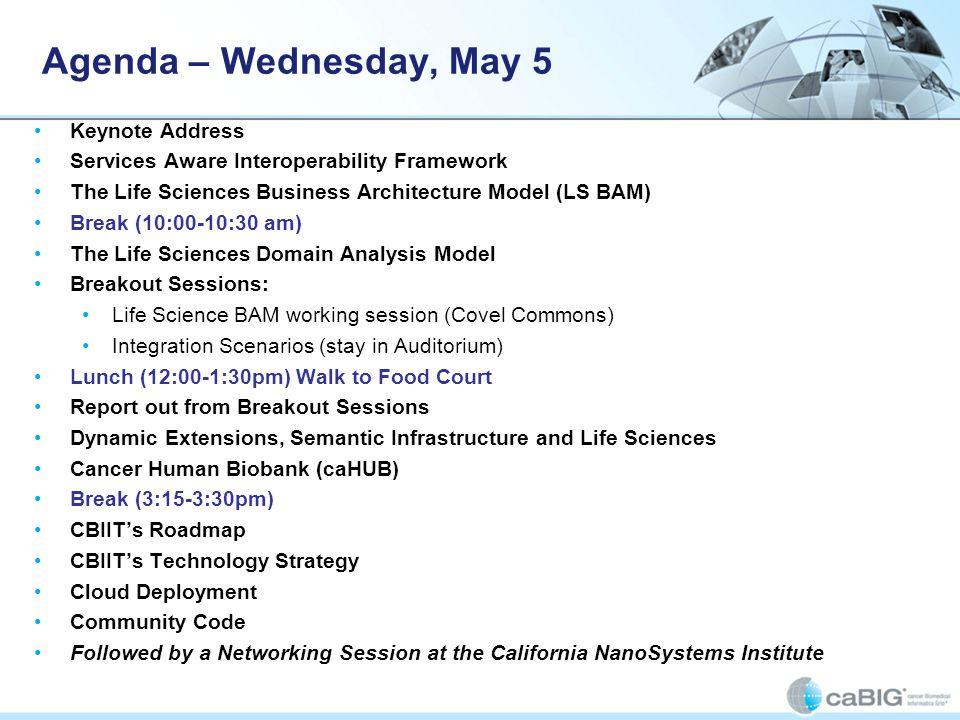 Agenda – Wednesday, May 5 Keynote Address Services Aware Interoperability Framework The Life Sciences Business Architecture Model (LS BAM) Break (10:0