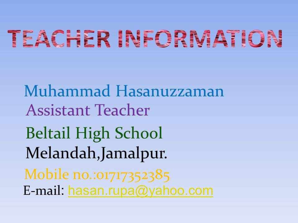 Muhammad Hasanuzzaman Assistant Teacher Beltail High School E-mail : hasan.rupa@yahoo.com Melandah,Jamalpur.