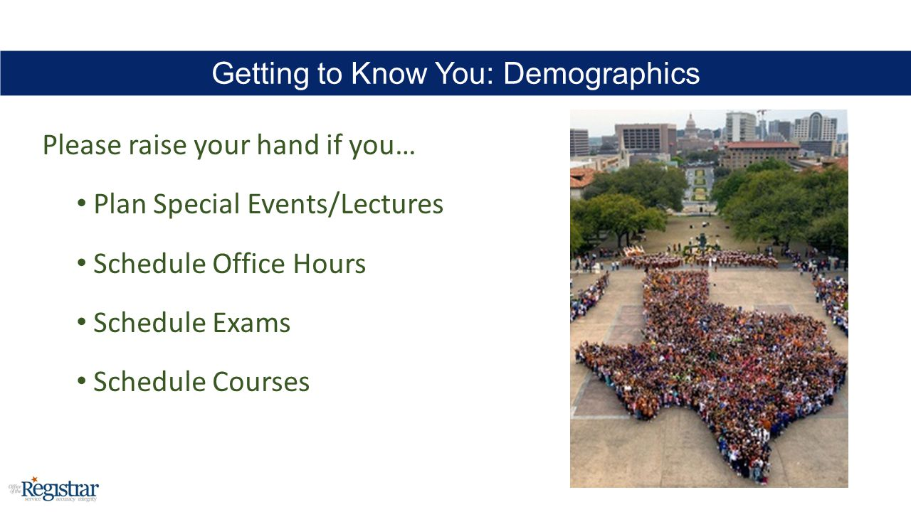 Please raise your hand if you… Plan Special Events/Lectures Schedule Office Hours Schedule Exams Schedule Courses Getting to Know You: Demographics