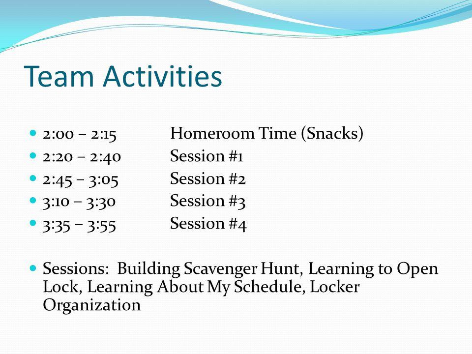 Team Activities 2:00 – 2:15Homeroom Time (Snacks) 2:20 – 2:40 Session #1 2:45 – 3:05 Session #2 3:10 – 3:30 Session #3 3:35 – 3:55 Session #4 Sessions