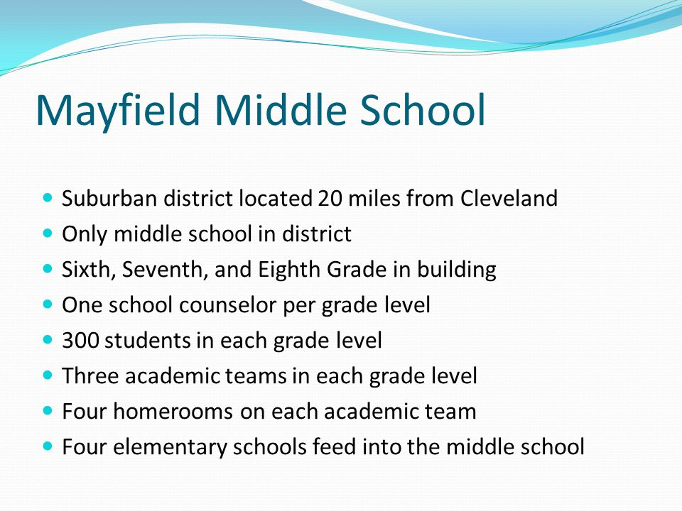 Mayfield Middle School Suburban district located 20 miles from Cleveland Only middle school in district Sixth, Seventh, and Eighth Grade in building O