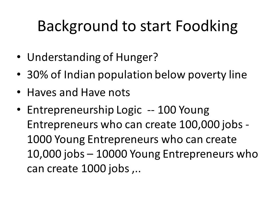 Background to start Foodking Understanding of Hunger.