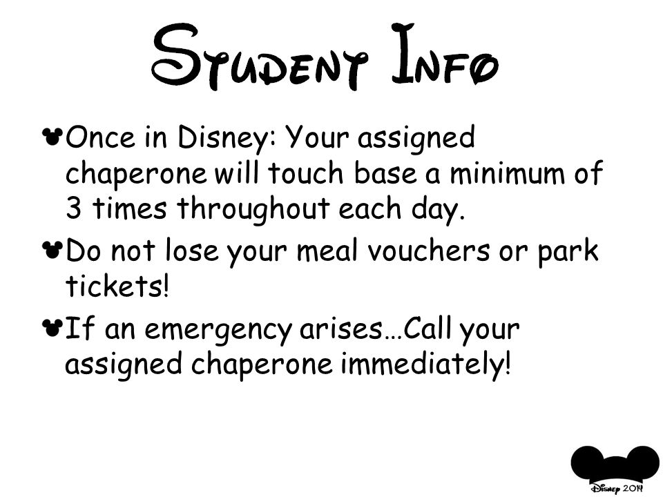 Once in Disney: Your assigned chaperone will touch base a minimum of 3 times throughout each day.
