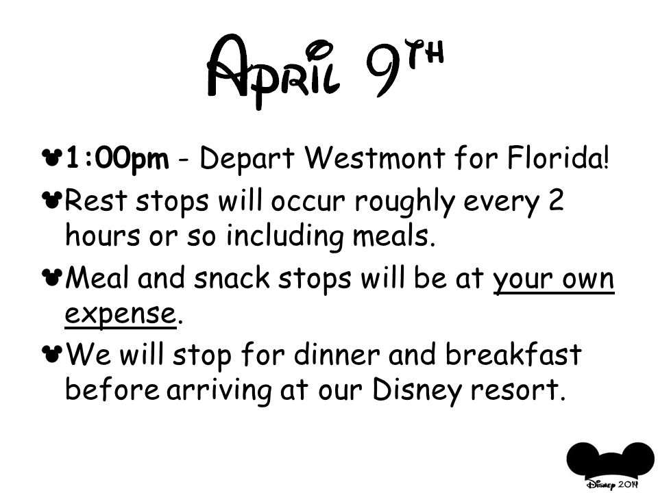 1:00pm - Depart Westmont for Florida.