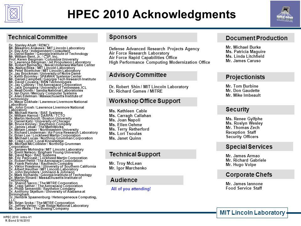 MIT Lincoln Laboratory HPEC 2010 intro-V1 R.Bond 8/16/2010 HPEC 2010 Acknowledgments Technical Committee Dr. Stanley Ahalt / RENCI Mr. Masahiro Arakaw
