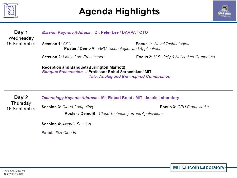MIT Lincoln Laboratory HPEC 2010 intro-V1 R.Bond 8/16/2010 Agenda Highlights Mission Keynote Address – Dr. Peter Lee / DARPA TCTO Session 1: GPU Focus