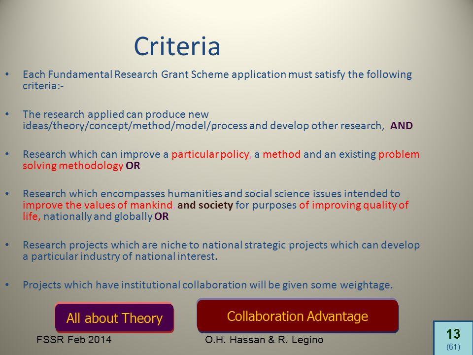 13 (61) FSSR Feb 2014O.H. Hassan & R. Legino Each Fundamental Research Grant Scheme application must satisfy the following criteria:- The research app