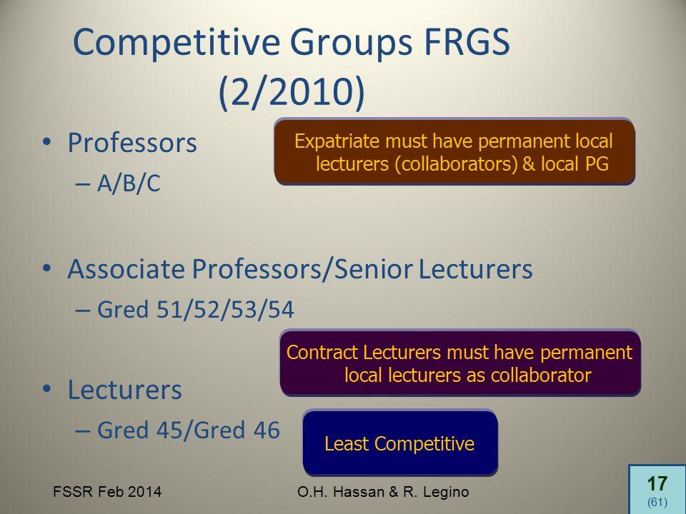 17 (61) FSSR Feb 2014O.H. Hassan & R. Legino Competitive Groups FRGS (2/2010) Professors – A/B/C Associate Professors/Senior Lecturers – Gred 51/52/53