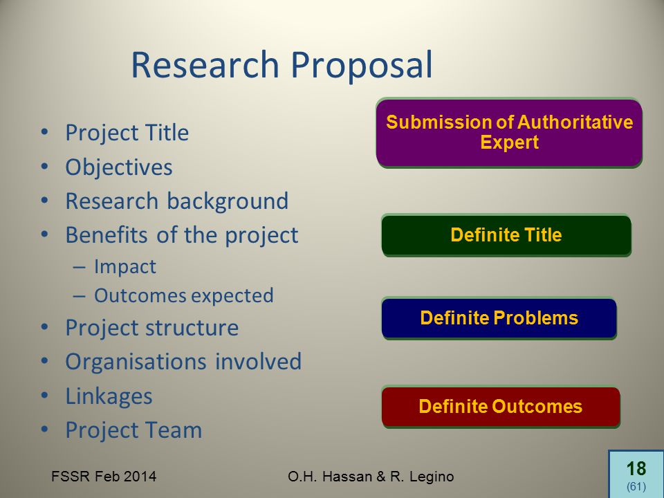18 (61) FSSR Feb 2014O.H. Hassan & R. Legino Research Proposal Project Title Objectives Research background Benefits of the project – Impact – Outcome
