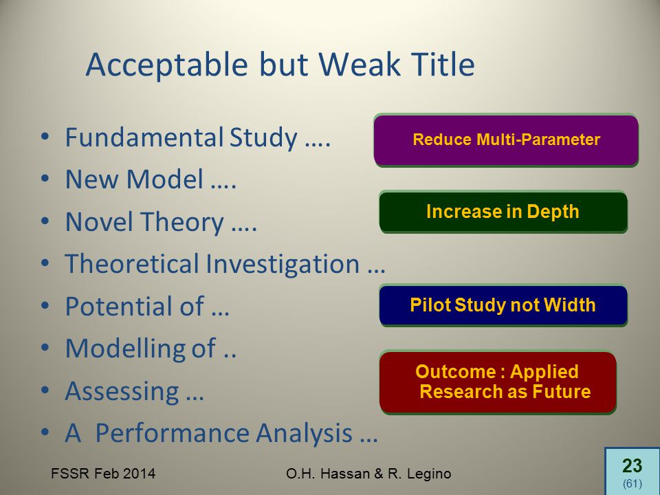 23 (61) FSSR Feb 2014O.H. Hassan & R. Legino Acceptable but Weak Title Fundamental Study …. New Model …. Novel Theory …. Theoretical Investigation … P