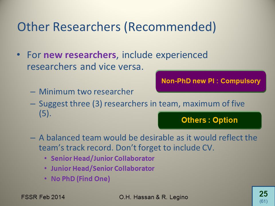 25 (61) FSSR Feb 2014O.H. Hassan & R. Legino Other Researchers (Recommended) For new researchers, include experienced researchers and vice versa. – Mi