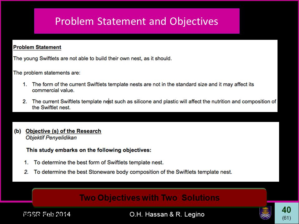 40 (61) FSSR Feb 2014O.H. Hassan & R. Legino Oskar (Feb 2013) Problem Statement and Objectives Two Objectives with Two Solutions Problem Statement and