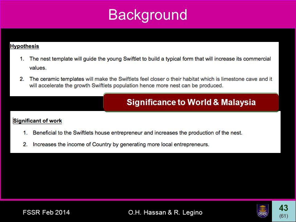 43 (61) FSSR Feb 2014O.H. Hassan & R. Legino Background Significance to World & Malaysia