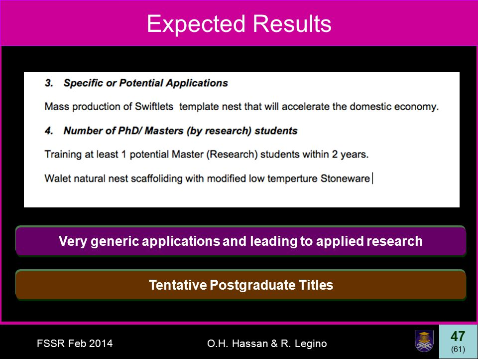 47 (61) FSSR Feb 2014O.H. Hassan & R. Legino Expected Results Very generic applications and leading to applied research Tentative Postgraduate Titles