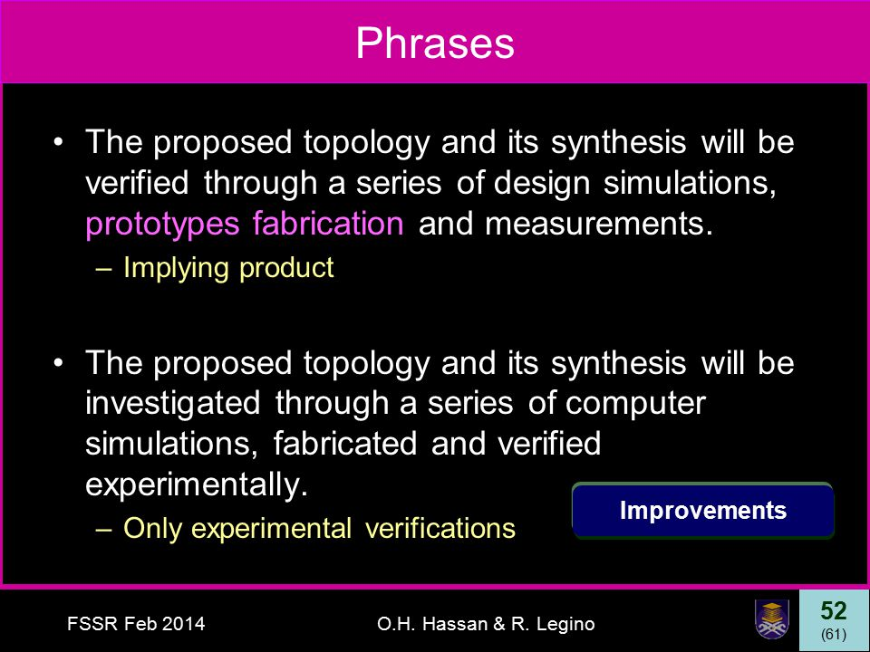 52 (61) FSSR Feb 2014O.H. Hassan & R. Legino Phrases The proposed topology and its synthesis will be verified through a series of design simulations,