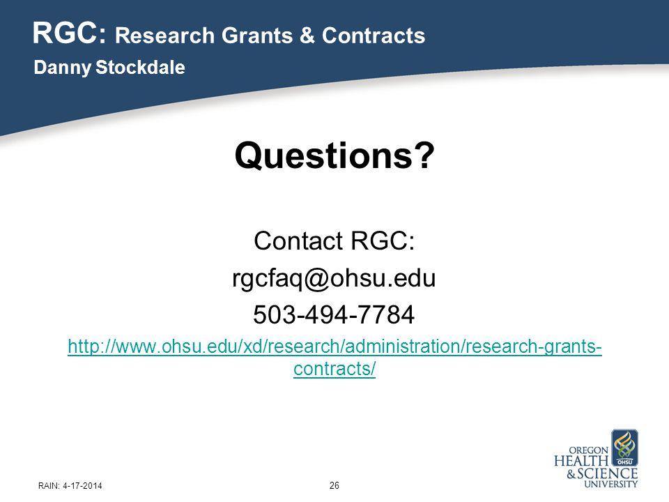26 RAIN: 4-17-2014 Questions.