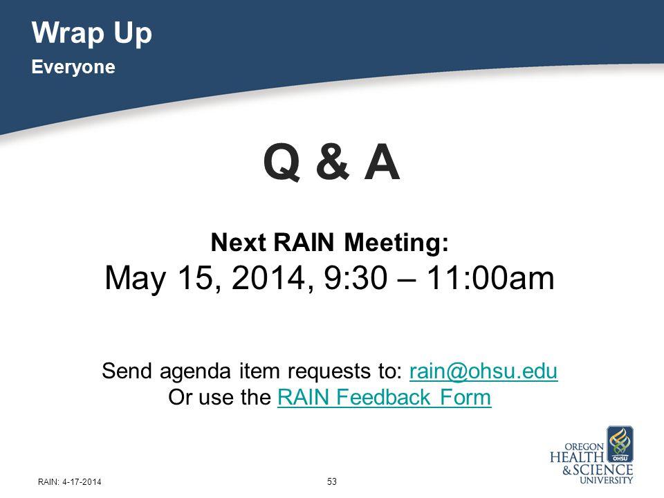 Wrap Up Q & A Next RAIN Meeting: May 15, 2014, 9:30 – 11:00am Send agenda item requests to: rain@ohsu.edurain@ohsu.edu Or use the RAIN Feedback FormRA