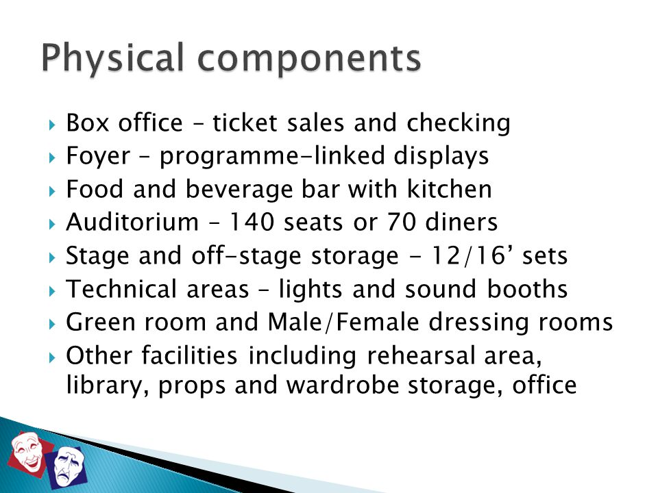  Box office – ticket sales and checking  Foyer – programme-linked displays  Food and beverage bar with kitchen  Auditorium – 140 seats or 70 diner