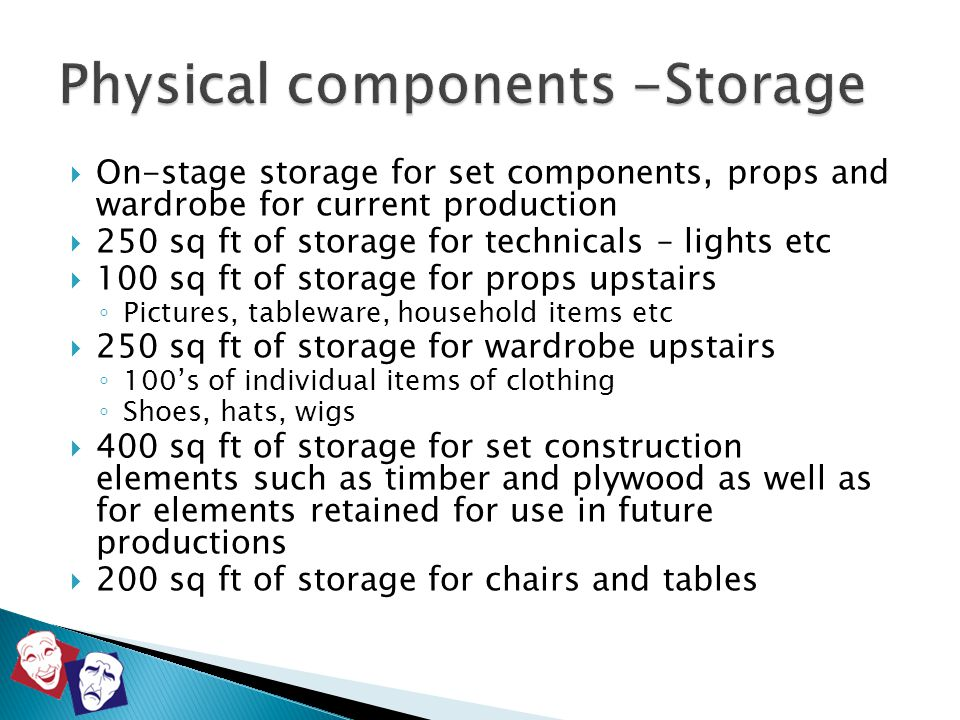  On-stage storage for set components, props and wardrobe for current production  250 sq ft of storage for technicals – lights etc  100 sq ft of sto