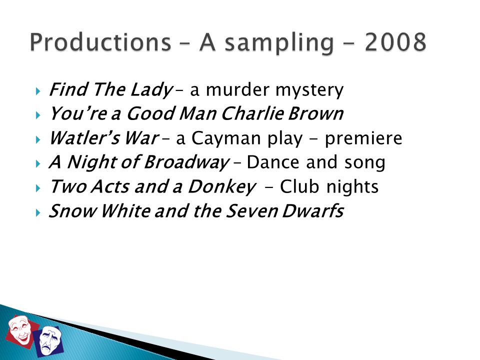  Find The Lady – a murder mystery  You're a Good Man Charlie Brown  Watler's War – a Cayman play - premiere  A Night of Broadway – Dance and song