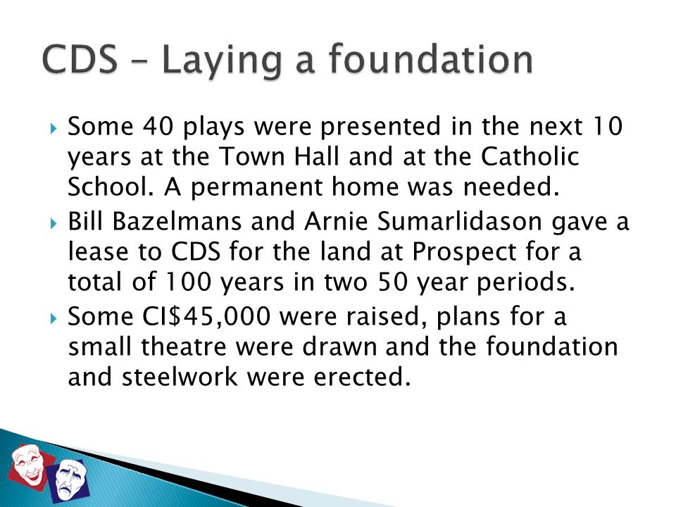  Some 40 plays were presented in the next 10 years at the Town Hall and at the Catholic School. A permanent home was needed.  Bill Bazelmans and Arn