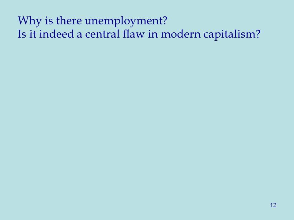 Why is there unemployment Is it indeed a central flaw in modern capitalism 12