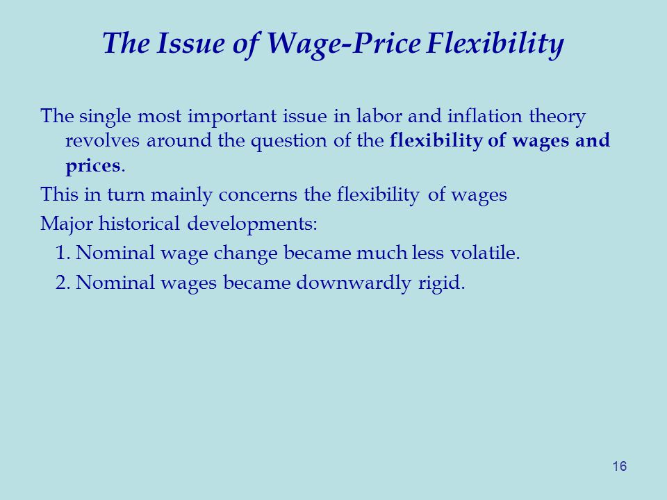 16 The Issue of Wage-Price Flexibility The single most important issue in labor and inflation theory revolves around the question of the flexibility of wages and prices.